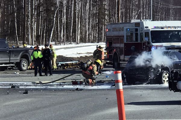 An accident that killed one person and injured three others closed the northbound Parks Highway at Church Road in Wasilla on Tuesday, March 27, 2018. (Jeff B.)