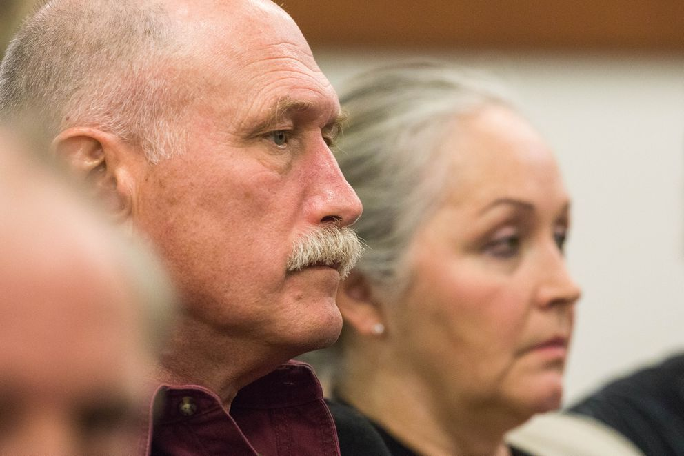 Ben and Edie Grunwald listen to testimony during Erick Almandinger's murder trial on May 17, 2018 in Palmer.  (Loren Holmes / ADN)