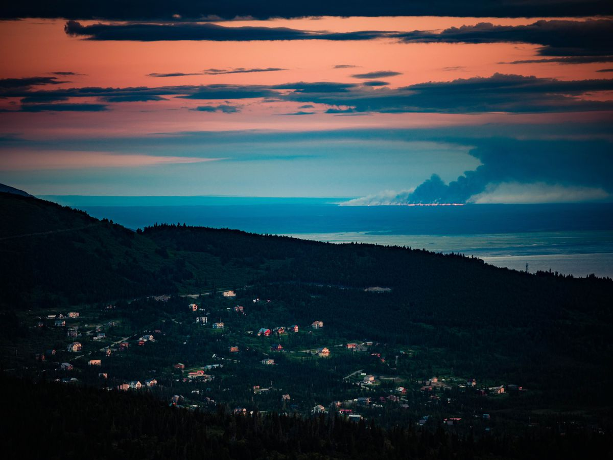 The Swan Lake fire burns on the Kenai Peninsula Tuesday night, June 11, 2019, in this view from Glen Alps on the Anchorage hillside. (Courtesy Joe Connolly / Chugach Peaks Photography)