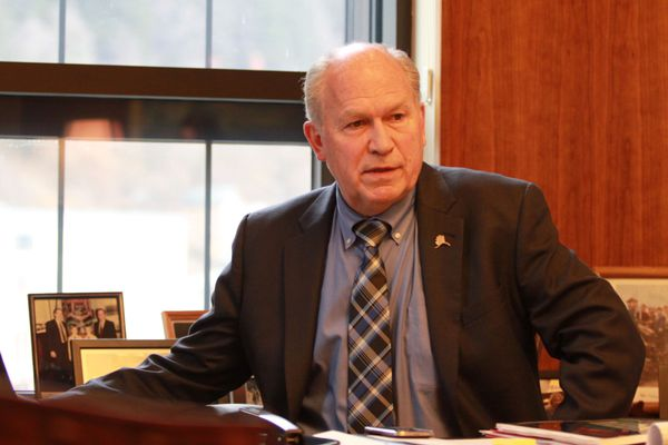 Alaska Gov. Bill Walker in his third-floor Capitol office Monday, April 3, 2017, in Juneau. Walker has been quietly pushing the Legislature to approve deficit-reduction measures, and says he's still optimistic about lawmakers reaching a deal. (Nathaniel Herz / Alaska Dispatch News)