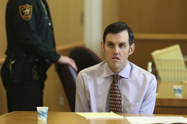 File- In this March 21, 2019 file photo, John Jonchuck appears before Judge Chris Helinger during his trial at the Pinellas County Criminal Justice Center in Clearwater, Fla. A prosecutor says a Florida man who threw his 5-year-old daughter off a Tampa Bay area bridge knew what he was doing was wrong, and that he should be found guilty of first-degree murder. Prosecutor Paul Bolan told jurors in his closing arguments Monday, April 15, 2019, that John Jonchuck clearly knew what he was doing when he dropped his daughter Phoebe 62 feet into Tampa Bay four years ago. (Scott Keeler/Tampa Bay Times via AP, Pool, File)
