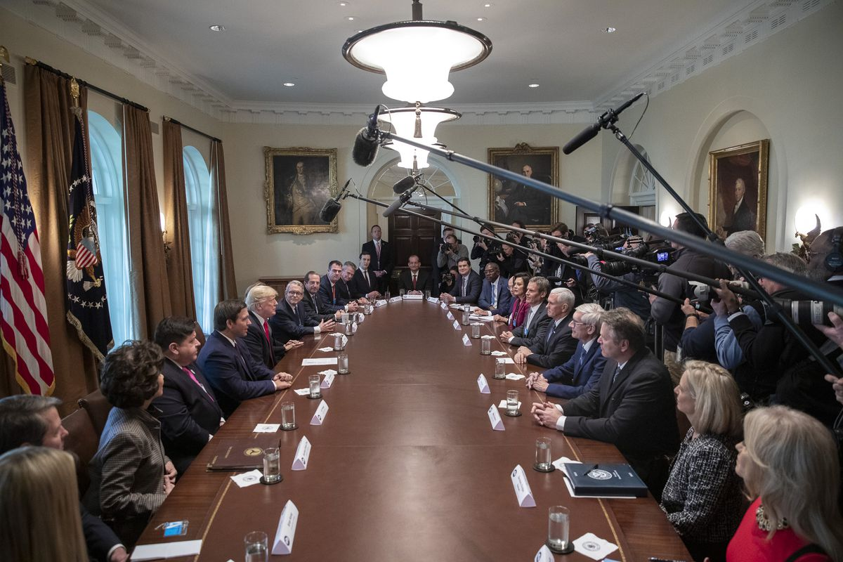 President Donald J. Trump, joined by Vice President Mike Pence, participates in a discussion with Governors-Elect Thursday, Dec. 13, 2018, in the Cabinet Room of the White House. (Official White House Photo by Joyce N. Boghosian)