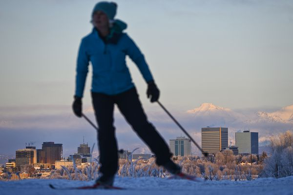 A skier travels the Tony Knowles Coastal Trail in Anchorage on February 7, 2021. (Marc Lester / ADN)
