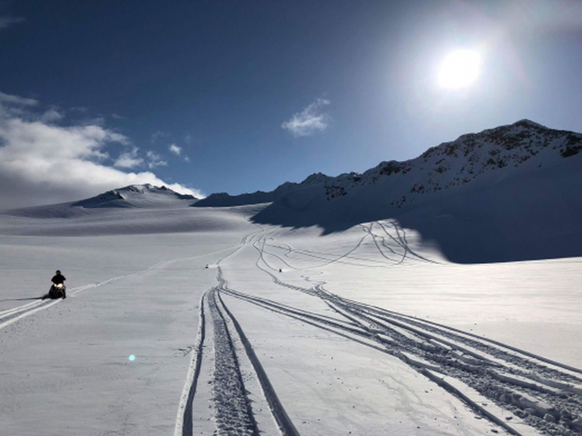 View looking south on the upper Blackstone Glacier on Wednesday. The image is part of the Chugach National Forest Avalanche Information Center report on Wednesday's fatal avalanche. (Photo by Koltan Lucas)