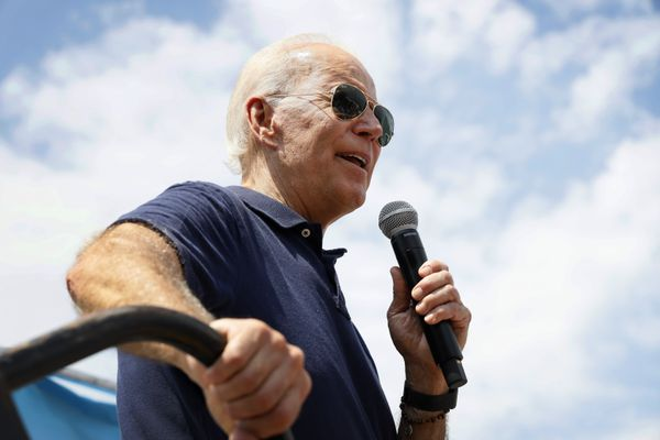 FILE - In this Aug. 8, 2019, file photo, Democratic presidential candidate former Vice President Joe Biden speaks at the Des Moines Register Soapbox during a visit to the Iowa State Fair in Des Moines, Iowa. Three Democrats in their 70s are vying to challenge the oldest first-term president in U.S. history. But science says age isn't a proxy for fitness. The bigger question is how healthy you are and how well you function. With only a few years separating them, President Donald Trump at 73 has mocked Biden, 76. Biden and Sen. Bernie Sanders, 77, try to showcase physical activity on the campaign trial while 70-year-old Elizabeth Warren even jogs around at rallies. (AP Photo/Charlie Neibergall, File)