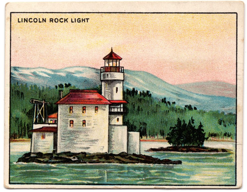 An example of a early 19th century lighthouse pictured on a 1910 Hassan Cigarettes tobacco card from their Light House series (Photo by David Reamer)