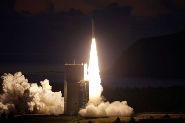 In this photo provided by the United States Navy, a tactical satellite lifts off form the Alaskan Aerospace Corporation's Kodiak Launch Complex in Kodiak, Alaska on Tuesday, Sept. 27, 2011. The rocket is carrying an experimental Navy communications satellite designed for safer combat communications.
