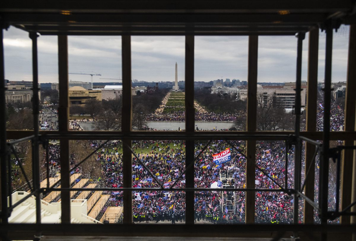 Protesters gather outside the U.S. Capitol on Wednesday. Photo by Amanda Voisard for The Washington Post.