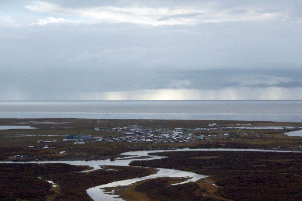 The Southwestern Alaska village of Quinhagak is seen from the air on Sept. 14, 2016. (Lisa Demer / ADN archive)