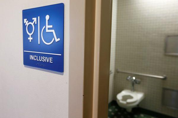 A gender-neutral bathroom is seen at the University of California, Irvine in Irvine, California September 30, 2014.