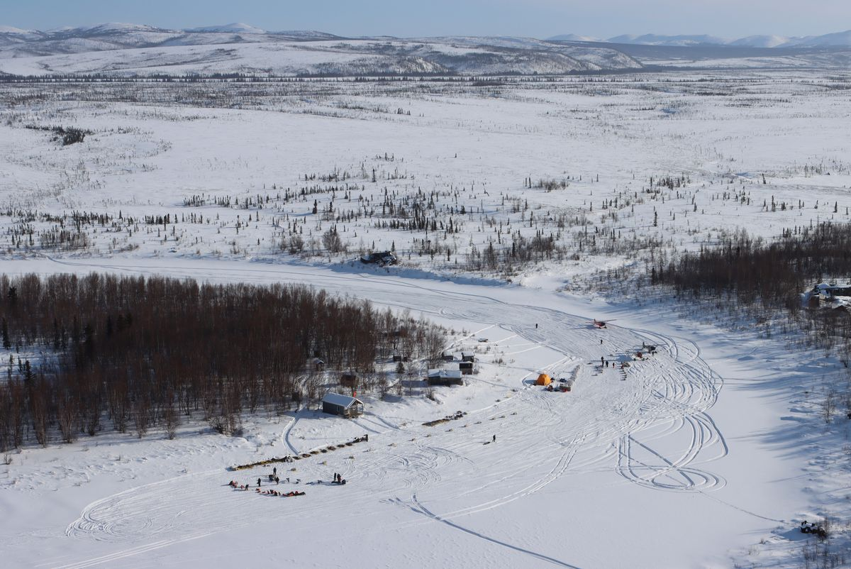 The checkpoint of Iditarod is nestled in a bend in the Iditarod River. It's both the halfway point and the turnaround point in this year's race. (Zachariah Hughes/for ADN)
