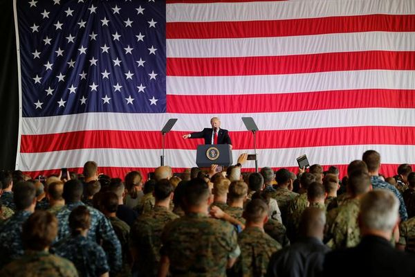 U.S. President Donald Trump delivers remarks to U.S. military personnel at Naval Air Station Sigonella following the G7 Summit, in Sigonella, Sicily, Italy, May 27, 2017. REUTERS/Darrin Zammit Lupi