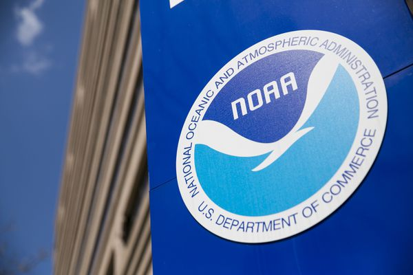 An exterior view of the headquarters of the National Oceanic and Atmospheric Administration on April 11, 2015 in Silver Spring, Md. (Kristoffer Tripplaar/Sipa USA/TNS)