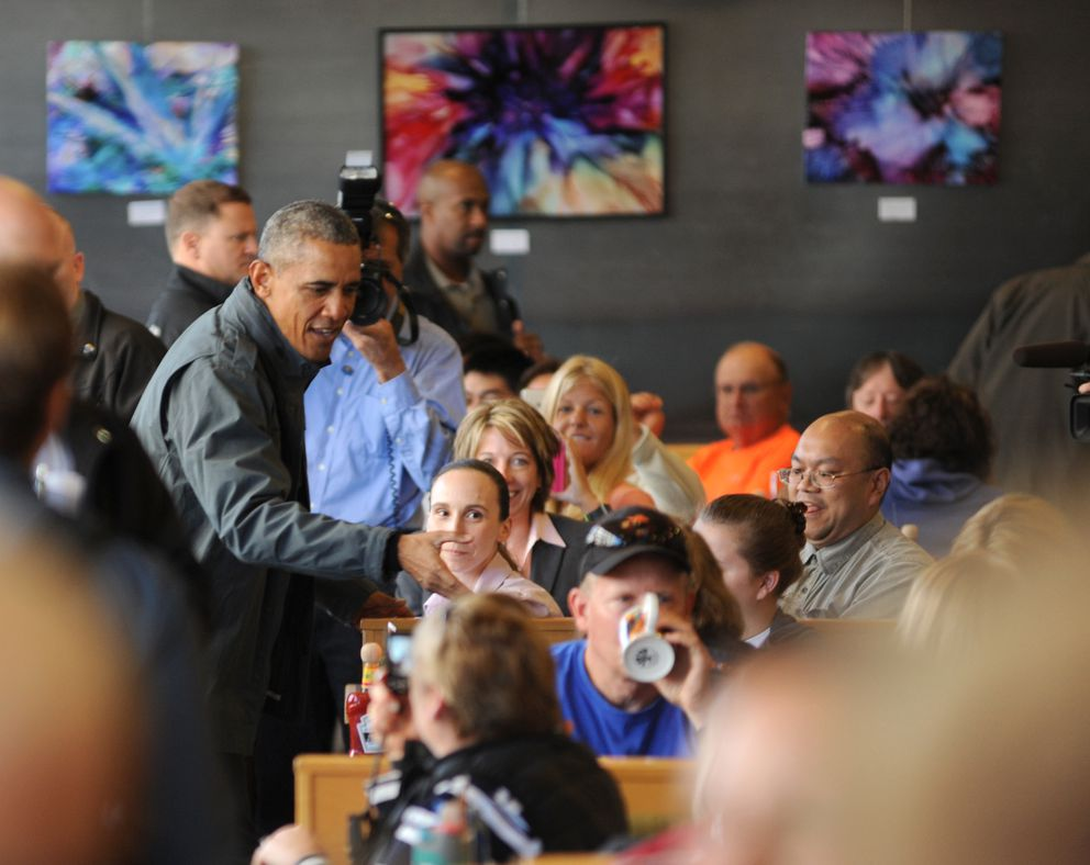 President Barack Obama made a quick visit to Snow City Cafe Tuesday morning, September 1, 2015. He made the rounds through the restaurant and shook hands with most everyone in the establishment. (Anne Raup / ADN)