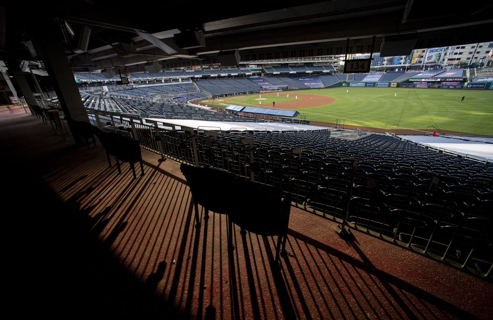 The Washington Nationals hosted the New York Mets on Aug. 4 in an otherwise empty Nationals Park. (Washington Post photo by Jonathan Newton)