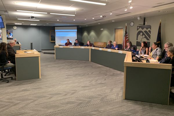 The Anchorage School Board on Tuesday, Sept. 17, 2019, listens to public testimony about a proposal that would have required schools to play the national anthem and Alaska state song at least once a month. The board narrowly rejected the proposal. (Tegan Hanlon / ADN)