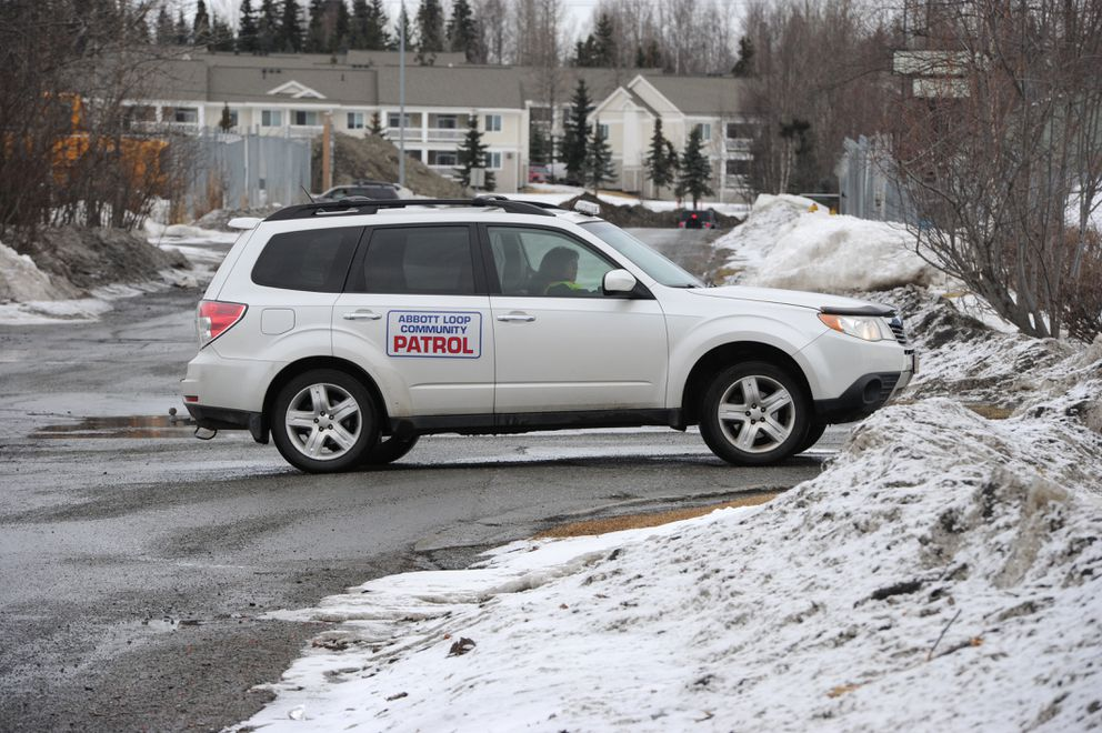 Patti Higgins who helped form the Abbott Loop Community Patrol drives a vehicle on patrol on Wednesday, March 28, 2018. (Bill Roth / ADN)