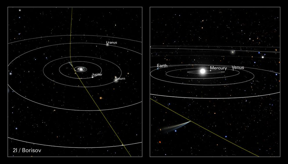 The path of comet 21/Borisov through our solar system. The panel at left shows the comet's straight path across interstellar space slightly deflected by the sun's gravitational pull. The panel at right shows the comet's position relative to Earth when the NASA/ESA Hubble Space Telescope observed it on Oct. 12, 2019, when it was almost 261 million miles from Earth. (NASA, ESA, J. Olmsted, F. Summers (STScI))