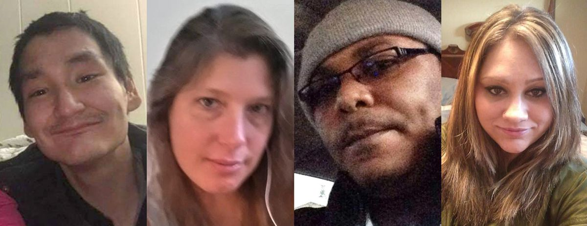Some of Anchorage's 2019 homicide victims: from left, Tony Susook, Brenda Smalley, Javon Diggs, and Salisa Loucks. (Photos courtesy Susook family, gunmemorial.org)