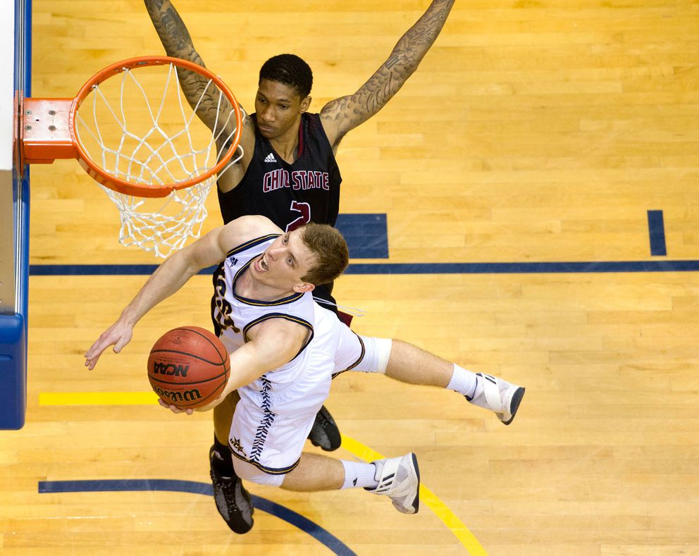 Anchorage's Adam Klie goes up for a shot for UC San Diego in the West Region championship game last month against Chico State. (Photo by Andy Wilhelm courtesy of UC San Diego)