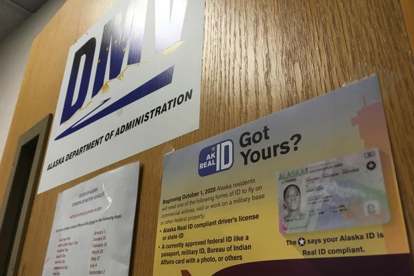 Signs explaining the REAL ID program are seen Jan. 2, 2019 at the Alaska Division of Motor Vehicles office in Juneau. (James Brooks/ADN)