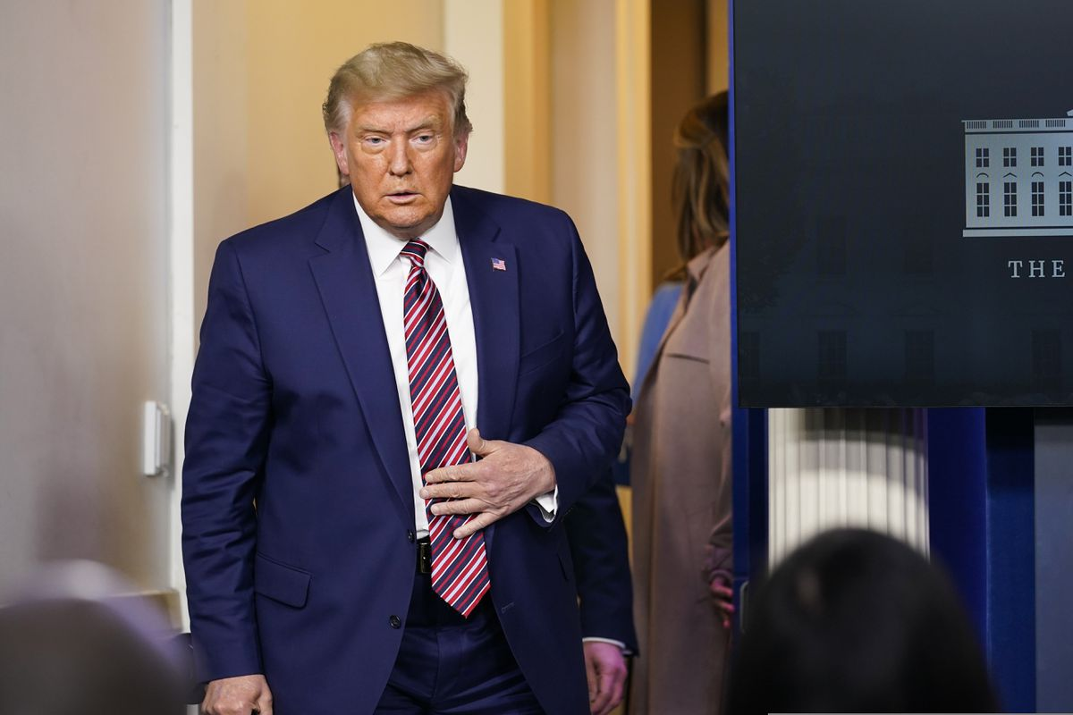 President Donald Trump arrives to speak at a news conference in the briefing room at the White House in Washington, Friday, Nov. 20, 2020. (AP Photo/Susan Walsh)