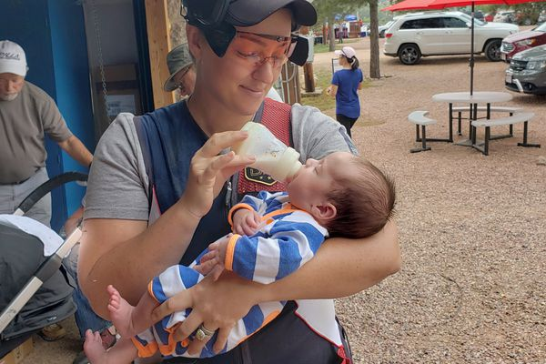 Corey Cogdell-Unrein feeds her two-month old baby, Lane, during a break in competition at the USA Shooting national championships last week (June 2019) in Colorado Springs, Colorado. (Photo courtesy of Corey Cogdell-Unrein)