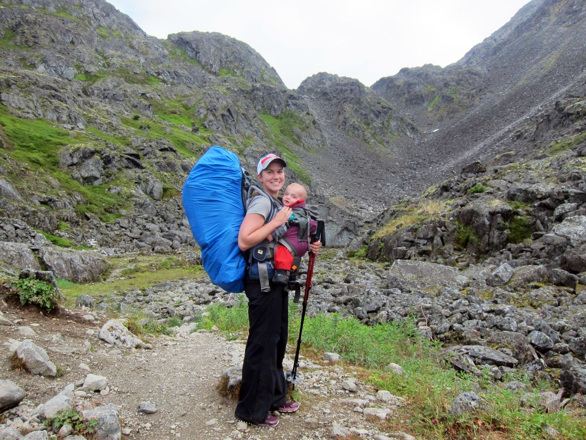 Heather Helzer and her son, Finch, 10 months, pause for a photo along the Chilkoot Trail in mid-August. (Courtesy Heather Helzer)