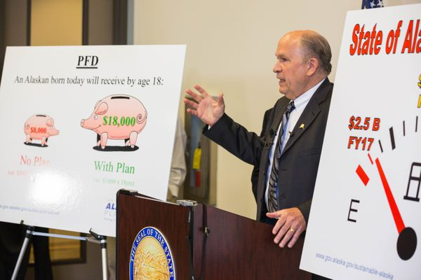 Gov. Bill Walker announced in 2016 that he was using his veto power to cap the Permanent Fund dividend. (Loren Holmes / ADN)