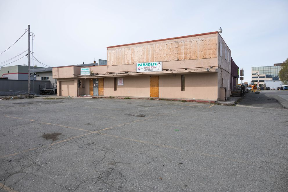 The former Paradise Inn on Spenard Road, photographed Thursday, May 9, 2019. New owner Cindy Berger plans to have the building demolished to make room for a parking lot. (Loren Holmes / ADN)