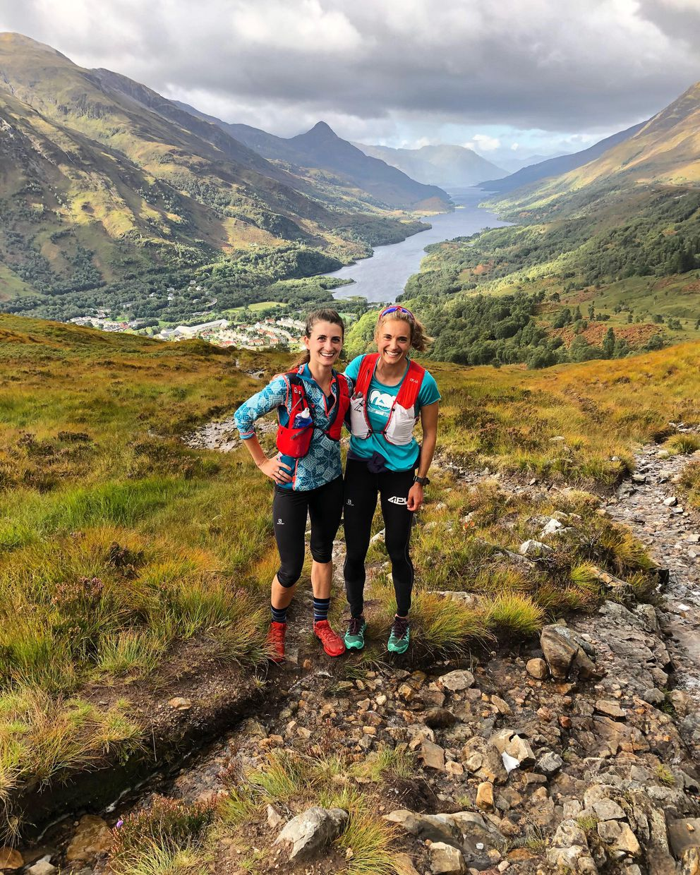 Denali Strabel, left, and Lauren Fritz hike the Scottish highlands prior to their races this week at the World Skyrunning Championships. (Photo provided by Lauren Fritz)