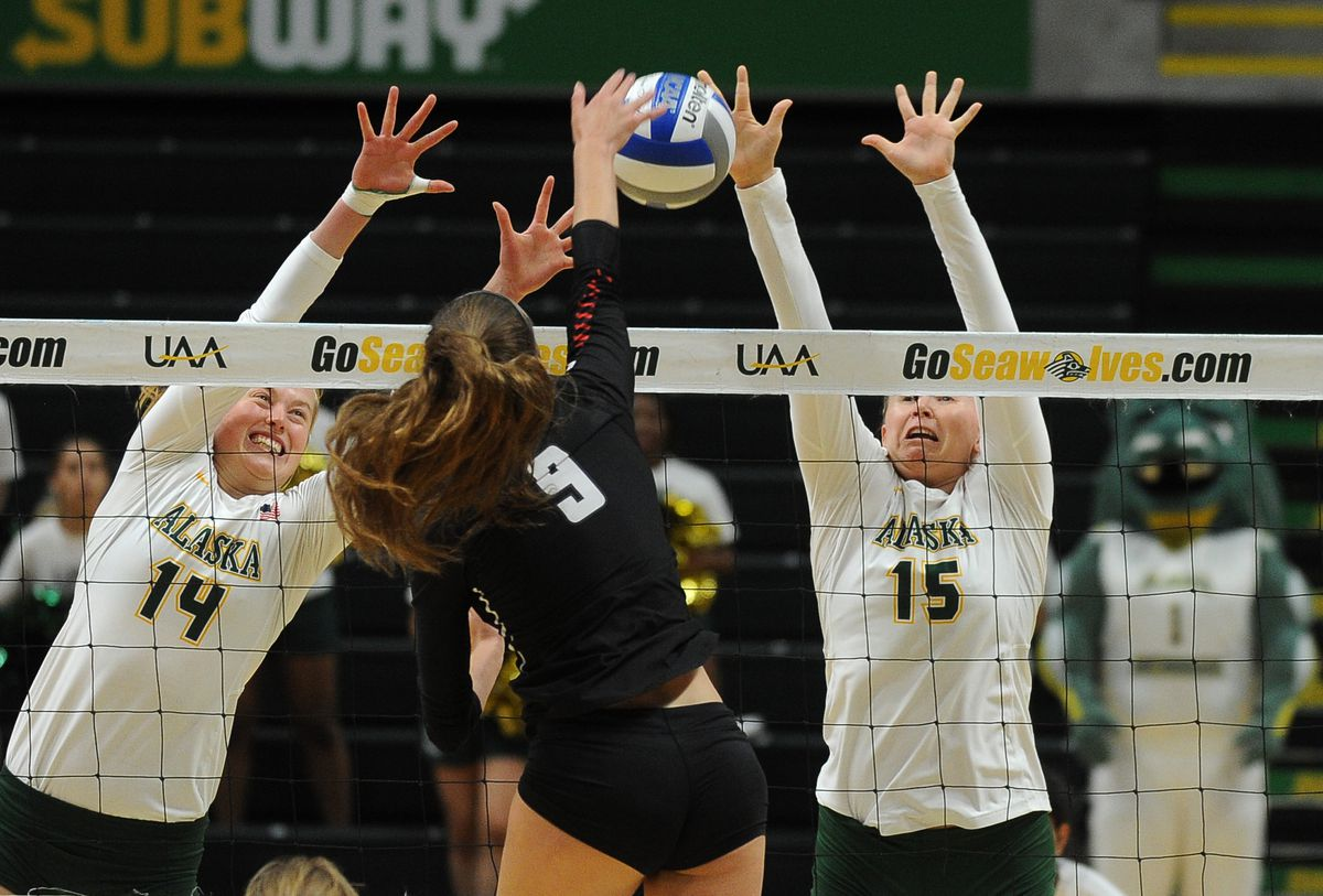 Vera Pluharova, left, shown here in a 2018 volleyball match, had a hand in 17 blocks in a pair of victories for the Seawolves on Friday and Saturday. (Bob Hallinen / ADN archives)
