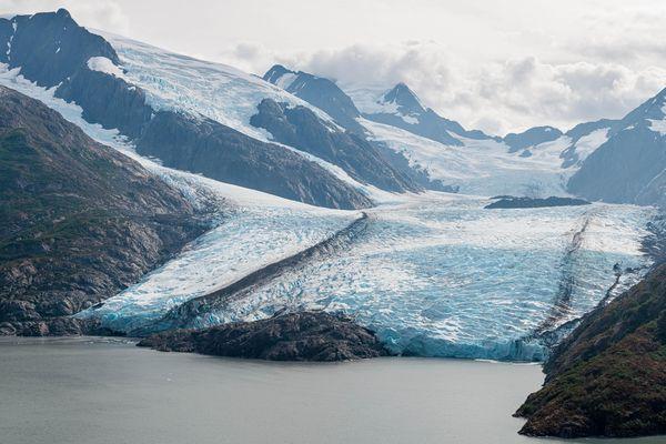 Portage Glacier sits at the edge of Portage Lake on Wednesday, Aug. 14, 2019.