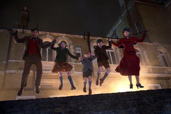 (L-r) Lin-Manuel Miranda, Pixie Davies, Joel Dawson, Nathanael Saleh and Emily Blunt in Disney's