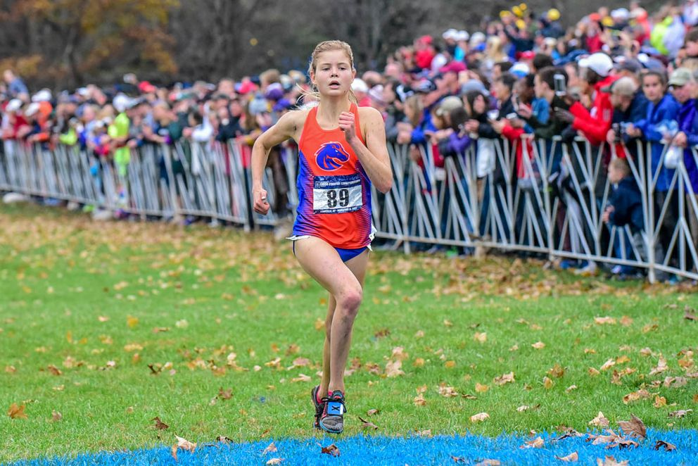 Boise State's Allie Ostrander of Soldotna claims fourth place at the NCAA Division I cross country championships Saturday in Louisville, Kentucky. (Photo by Michael Scott)