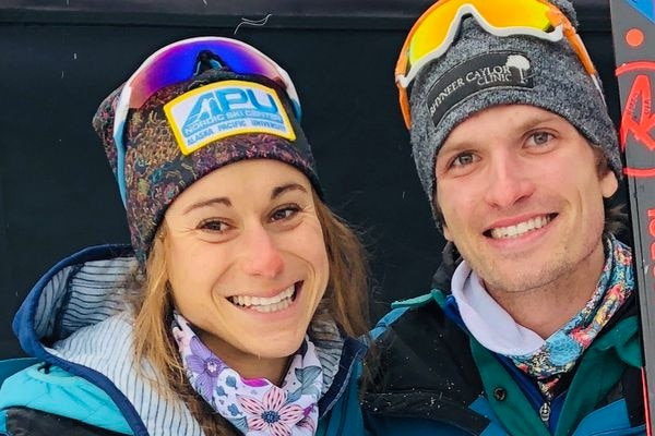 Jessica Yeaton and David Norris moments after Norris won the men's 30-kilometer freestyle race at the 2019 U.S. National Championships in Craftsbury, Vermont. Earlier the same day, (Jan. 6 2019) Yeaton placed third in the women's 20K freestyle. (Photo courtesy Jessica Yeaton)