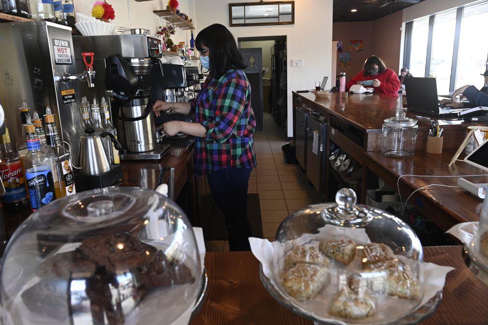 Estrella Rodriguez-Northcutt owns Cafecito Bonito at 6307 DeBarr Road. Photographed on April 20, 2021. (Marc Lester / ADN)