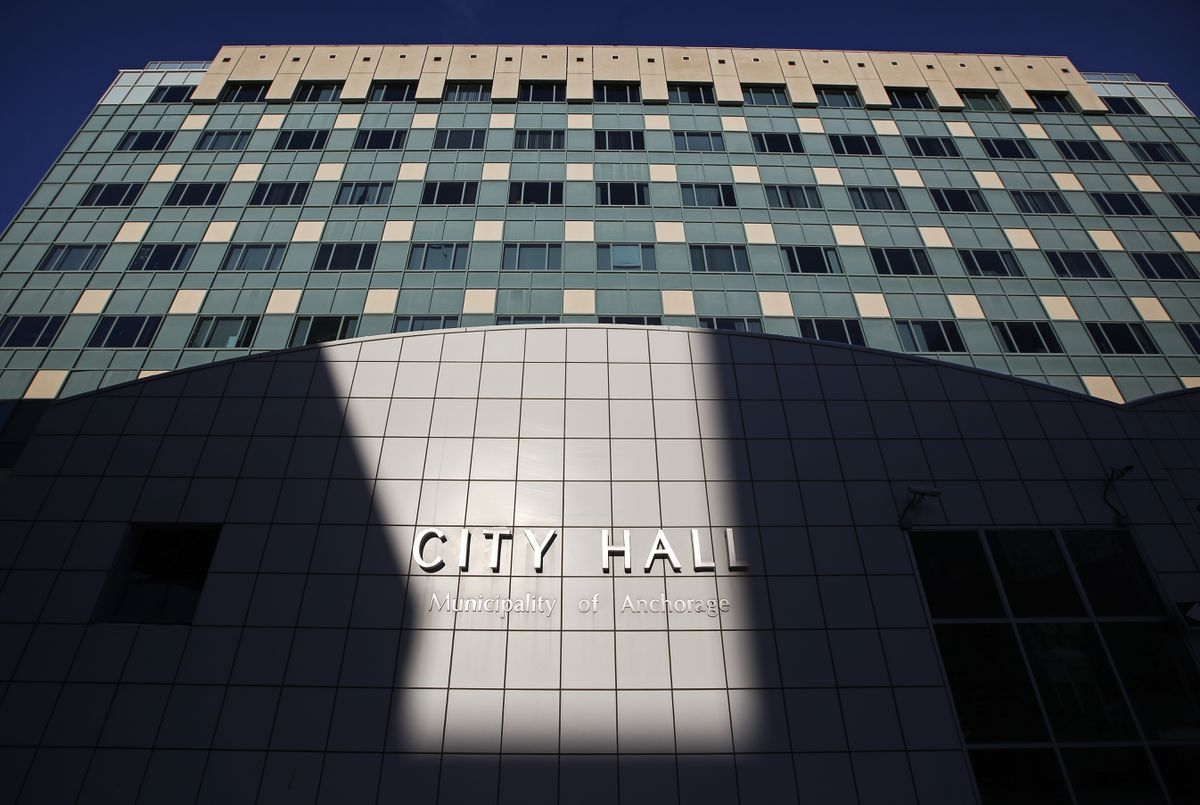 City Hall located in downtown Anchorage on Friday, Feb. 12, 2021. (Emily Mesner / ADN)