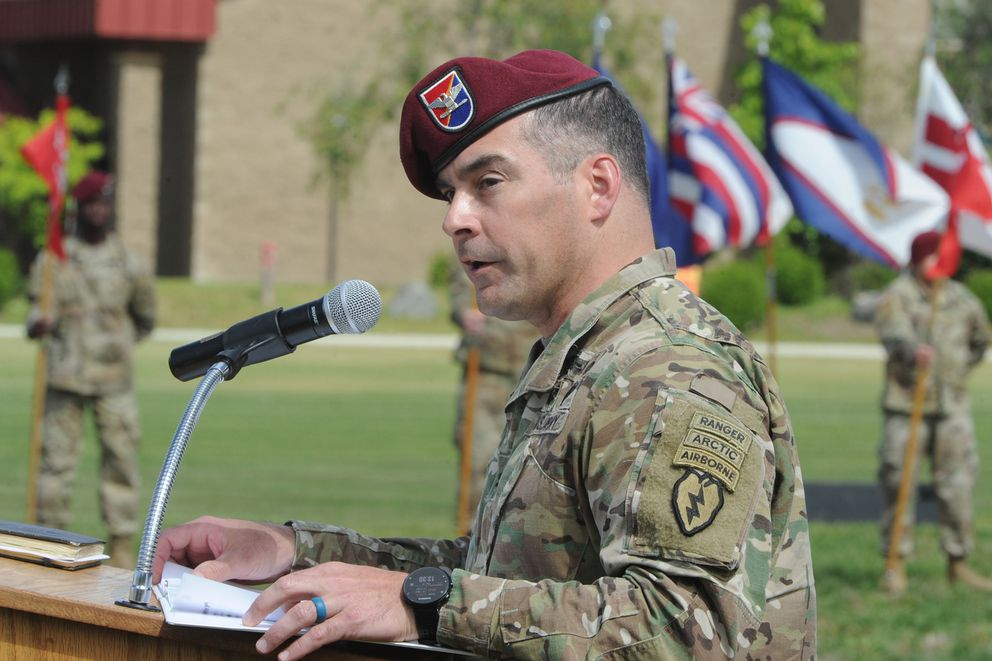 Col. Christopher Landers, commander of the 4th Infantry Brigade Combat Team (Airborne), 25th Infantry Division, speaks during the Change of Command ceremony at Pershing Field on Joint Base Elmendorf-Richardson on Thursday, June 18, 2020. (Bill Roth / ADN)