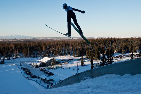Hugo Compton competes in the 65-meter division. The Karl Eid Ski Jumps, located next to Hilltop Ski Area in Anchorage, hosted its New Year's Classic competition on Saturday, January 7, 2017. About 30 jumpers competed. Divisions included 10, 20, 40 and 65-meter events. (Marc Lester / Alaska Dispatch News)
