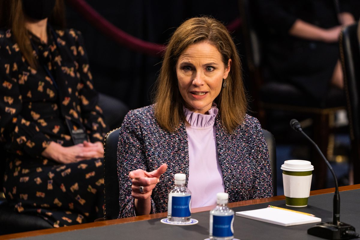 Supreme Court nominee Amy Coney Barrett responds during the Senate Judiciary Committee hearing on Wednesday in Washington, D.C. MUST CREDIT: Washington Post photo by Demetrius Freeman
