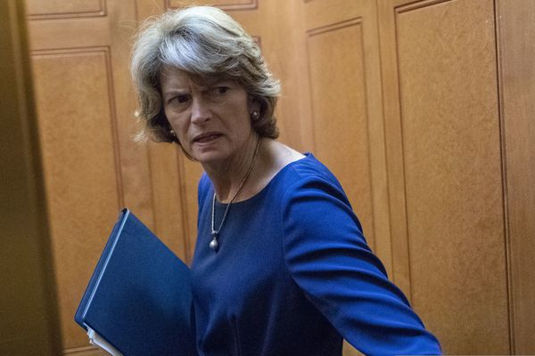 Sen. Lisa Murkowski, R-Alaska, turns to answer a reporter's question after the Democratic policy luncheon on Capitol Hill, Wednesday, Oct. 10, 2018 in Washington. Murkowski is brushing back against President Donald Trump, saying she knows her state's political terrain