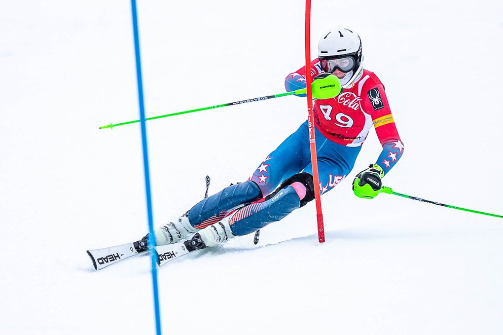 At a slalom race at Alyeska in January, Finnigan Donley posted the fastest combined time by 15 seconds. (Photo by Bob Eastaugh)