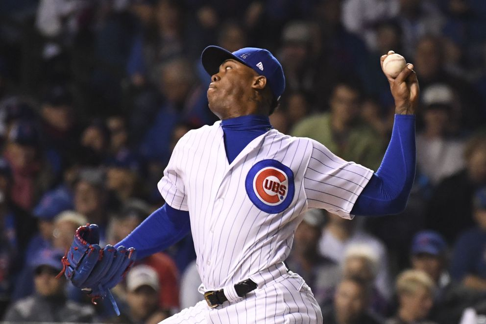 Chicago Cubs relief pitcher Aroldis Chapman delivers a pitch against the Cleveland Indians during the ninth inning in game three of the 2016 World Series at Wrigley Field. (Tommy Gilligan-USA TODAY Sports)