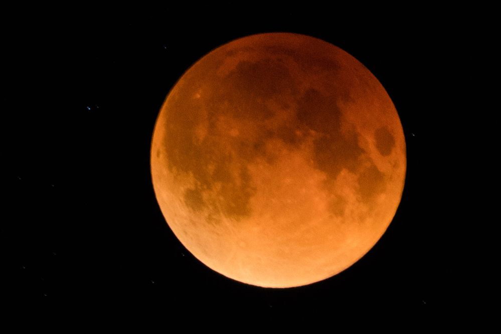 The 'super blue blood moon,' seen from Independence Mine State Historical Park during the peak of the eclipse early Wednesday morning, Jan. 31, 2018. The overlap of a blue moon – the second full moon in a calendar month – with a lunar eclipse while the moon is at its closest approach to Earth is an unusual event. (Loren Holmes / ADN)