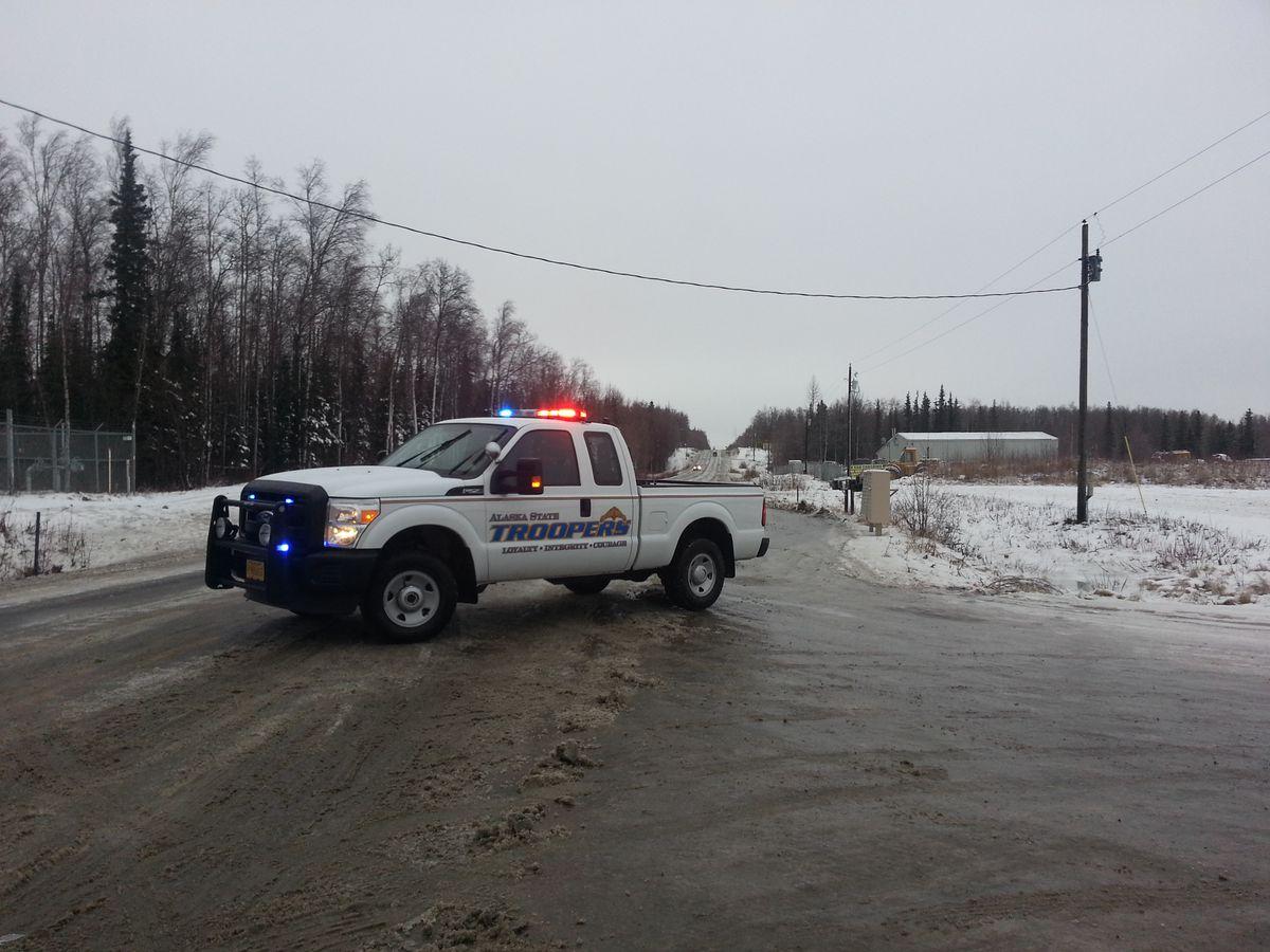 An Alaska State Troopers pickup blocks traffic at Vine Road near Wasilla. (Brent Zoellner / ADN archive)