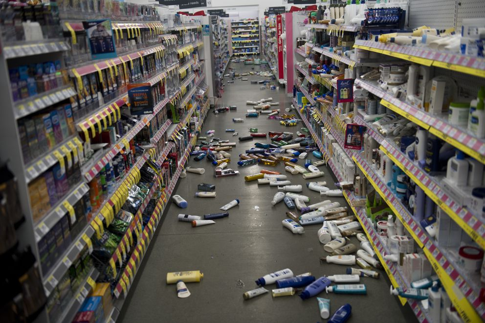 Products fell to the floor inside Walgreens at Lake Otis Parkway and Tudor Road. An earthquake caused damage in the Anchorage area on November 30, 2018.