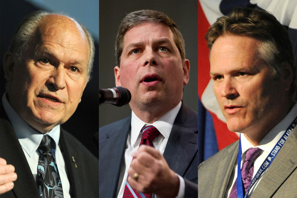 Alaska gubernatorial candidates from left, incumbent Gov. Bill Walker, Democrat Mark Begich, and Republican Mike Dunleavy. (ADN photo)
