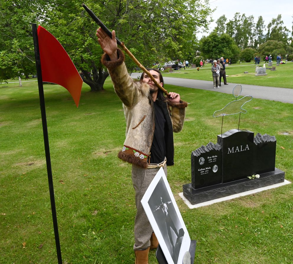 Skyler Ray Benson Davis portrayed Hollywood actor and camerman Ray Mala from Candle, Alaska, (1906-1952) during the 10th annual Stories at the Cemetery at Anchorage Memorial Park Cemetery on Sunday. (Bill Roth / ADN)