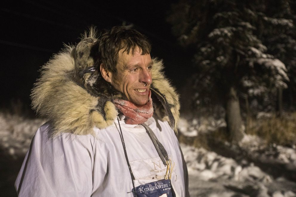Jessie Holmes arrived first into the Kalskag checkpoint during the Kuskokwim 300 sled dog race early Saturday morning, Jan. 21, 2017. (Loren Holmes / Alaska Dispatch News)
